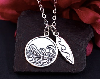 Wave Necklace, Surfboard Necklace, Sterling Silver, Surfer Girl Necklace, Surfing Necklace, Ocean Wave, Beach Necklace, Surfer Gift