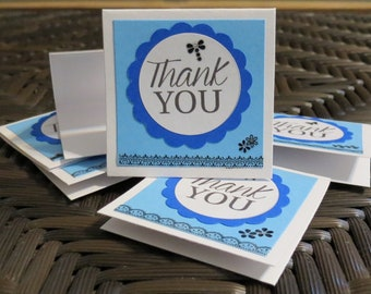 Black and Blue Handmade Mini Thank You Cards Set of 40