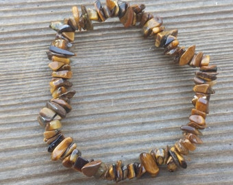 TIGER EYE Natural Stone Gemstone Stretchy Chip Bracelet