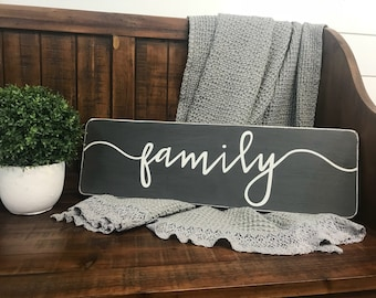 "Family sign | rustic wood sign | wall collage decor | fixer upper sign | wooden signs | 24""x7.25"""