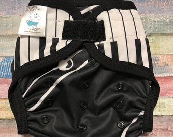 Piano Keys Polyester PUL Cloth Diaper Cover With Aplix Hook & Loop Or Snaps Pick Size XS/Newborn, Small, Medium, Large, or One Size