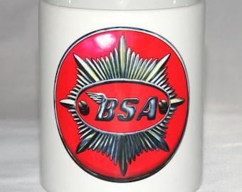 Motorbike Mug. BSA Badge illustration.