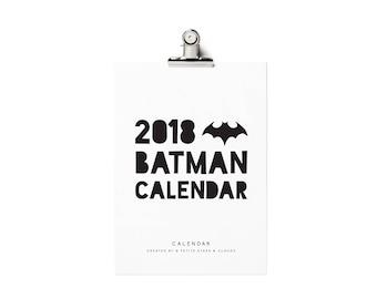 2018 Printable Calendar, 2018 Batman Calendar, Batman Calendar, Monthly Wall Calendar 2018, Batman, Monochrome, Superhero Calendar