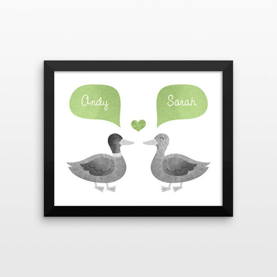 DUCK Couple Personalized Art Print, Husband Gift, Mens Gift, Anniversary Gift, Valentines Gift, Couples Gift, Animal Couple Wall Art