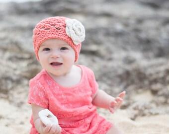 baby hat,girls winter hat, baby girl baby girl hat, crochet little girls hat, girls hat, coral hat, winter hat for girls, crochet kids hat