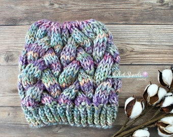 CLEARANCE, Knit messy bun hat, Braided cable hat, Knit bun hat, Ladies bun beanie, Handmade gift, Girls Hat, Winter hat, Ready to ship