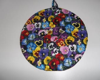 Quilted, Pot Holders, Pansy's, Mothers Day Gift, Potholders, Hot Pads, Trivet Round, Handmade Double Insulated, Kitchen Decor, Hostess Gift