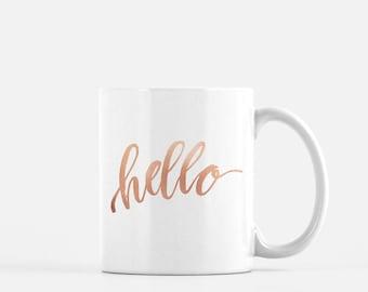 Hello | hand lettered watercolor quote mug | Inspirational Quote Mug | Hello quote mug | quote gift | Pun Coffee Mug