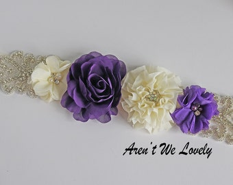 Purple flower belt, Purple  sash, purple  belt, bridal belt, bridesmaid belt, maternity belt, maternity sash, belt, belts and sashes
