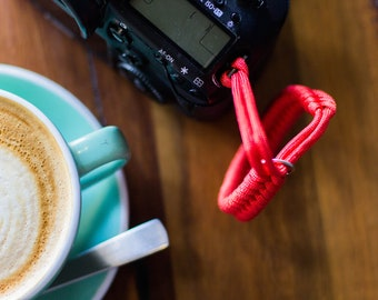 Paracord camera wrist strap red