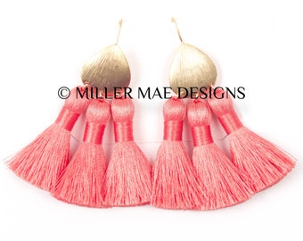 Coral Boho Statement Tassel Earrings | Silky Tassel Earrings | Bohemian Tassel Earrings | Peach Fringe Earrings | Thread Tassel Earrings