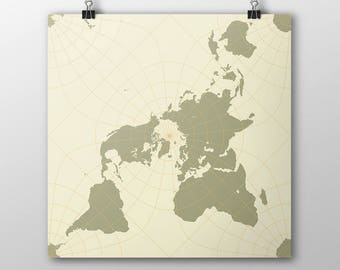 Dymaxion world map poster buckminster fuller geodesic peirce quincuncial world map poster north pole square world map wall art print khaki gumiabroncs Images