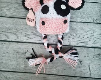 Baby Cow Hat - Crochet Cow Hat - Personalized Cow Hat - Cow Costume - Cow Prop - Newborn Cow - Preemie Cow - Cow Photo Prop - Girl Cow Hat