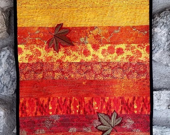 Table Runner, Fall Table Runner, Fall quilted table runner, Autumn quilted table Runner, Orange, Yellow, Gold, Red, Black, Metallic