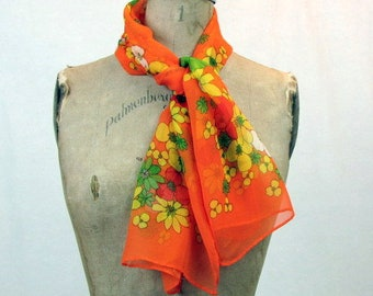 "Vintage Orange Floral Scarf / Long Scarf / Green, Yellow, Red Flowers / Sheer Scarf / 42"" x 13"" / Mod Scarf / Hippie Scarf / Head Scarf"