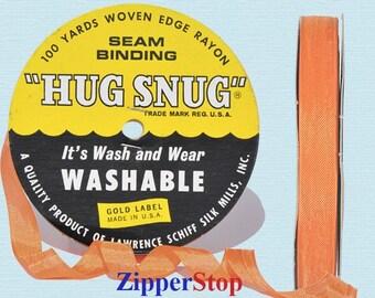 "ORANGE - Hug Snug Seam Binding - 100 yard roll 1/2"" Wide - 100% Woven-Edge Rayon - Sewing Trim & Craft Supply - Wholesale Ribbon"