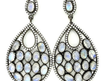 Beautiful Victorian Inspired Rainbow Moonstone Sterling Silver Crystal Drop Earrings