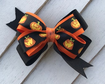 FLASH SALE*** Halloween Pumpkin ribbon boutique Hairbow Barrette