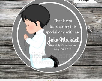 Printable Holy Communion Favor Tags, DIY Digital First Holy Communion Tags, DIY Communion Stickers, Boy First Communion Printable Favor tags