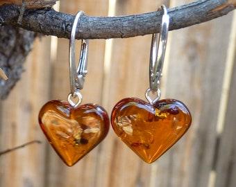 "Baltic Amber Heart Earrings Honey Dangling Natural 1.22"" 2.8 gram 925 Silver"