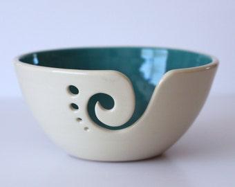 Turquoise Ceramic Yarn Bowl, Yarn Bowl, Knitting Bowl, Crochet Bowl, Turquoise and White Yarn Bowl, Made to Order