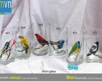 Wild Australia, birds of Australia, bird glassware set, artistic hand painted glasses