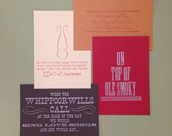 Love Note Cards, Appalachian notes, valentines, thank you notes, letterpress cards, southern saying cards, southern notes, love cards