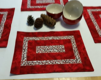 Set of 4 table placements, Quilted placemats, Modern placemats, Fabric placemats, Table quilt, Red placemats, Handmade patchwork placemats
