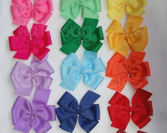 Solid Color Pinwheel Bow Hair Clips - Two (2) Extra Large Bows - 5 inches wide - Pick From 28 color choices