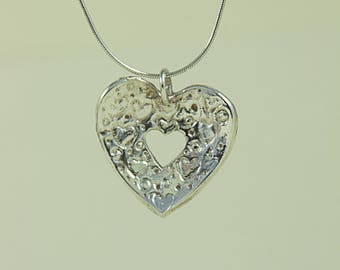 Fine Silver Handcrafted Heart of Hearts Pendant