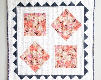 Large Floral Square Baby Quilt, Play Mat, or Wall Hanging
