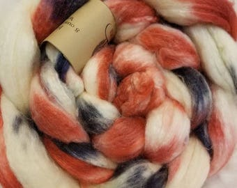 BFl/Silk Hand Dyed Roving: Old Glory