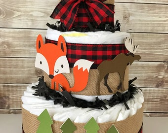 Woodland Lumberjack Baby Shower Diaper Cake, Little Lumberjack Baby Shower Centerpiece