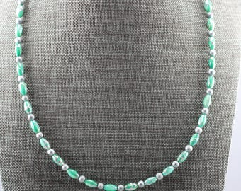 Teal Shell and Gray Bead Necklace