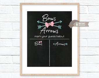 Bows or Arrows Gender Reveal Guess Sign - Chalkboard Inspired Poster - Boy or Girl - Baby Shower - 8x10, 16x20, 18x24 Sizes