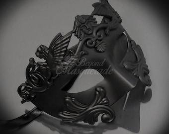 Mens Masquerade Mask, Matte Black Roman Mask, Greek God Mask, Mardi Gras Mask, Masquerade Mask Men [Matte Black]