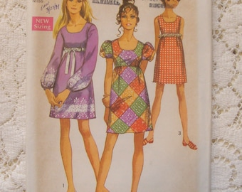Vintage 1970's Mini Dress Pattern with Empire Bust and Sleeve Variations