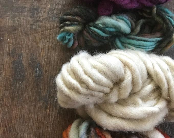 Four mini skeins, handspun miniskein texture pack yarn, 40 yards, art yarn set, weaving yarn set, textured yarn