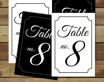 Printable Table Numbers, in black and white, for wedding reception, numbers 1 - 25