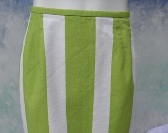 1/2 OFF Carlton Varney Ireland Green & White Stripe Vintage Skirt, A-Line, Verticle Stripes, 100% Cotton sz S-M