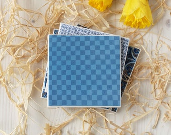 "Portuguese Tiles, Azulejos, Ceramic Drink Tile Coaster ""Azul"", Blue Tile, Wedding Favor, Handmade Gift"