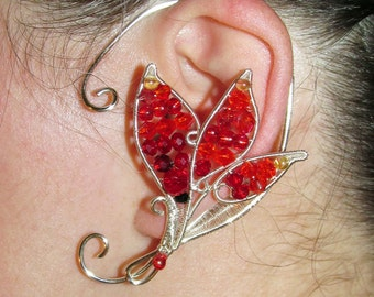 Fire Elemental Ear cuff, flames earring, ear jewelry for Fire fairy costume, Elemental jewelry, fire magic, Fantasy jewelry, wire ear cuff