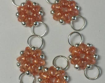 5 connectors superduos transparent peach beads - 12x21mm
