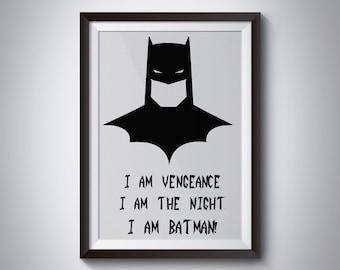 Batman Black White Print, Art Print, Wall Art, Poster, Motivational Quote, marvel quote, Avengers