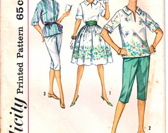 Simplicity 4483 Woman's Pullover Split Front Shirt, Clam Digger Pants, Full Skirt, Hooded Shirt Sewing Pattern Size 16 Vintage 1960's