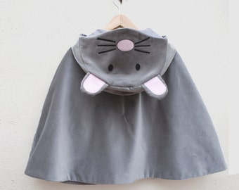 Mouse cape dress up jacket in grey velvet