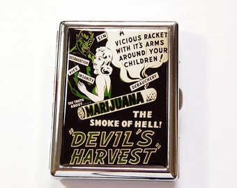 Funny Cigarette Case, cannabis case, Metal cigarette case, Marijuana case, cigarette box, cigarette case humor, retro cigarette case (4880C)