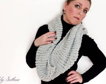 Grey polyester neck scarf or Snood