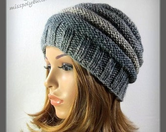 Gray knit hat, beehive hat, hand knitted winter hat, ribbed hat, gift for her, winter fashion
