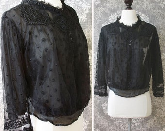 vintage AS-IS Victorian blouse <> black Victorian lace, net, and silk blouse <> late 1800s blouse in black lace <> sold in as-is condition